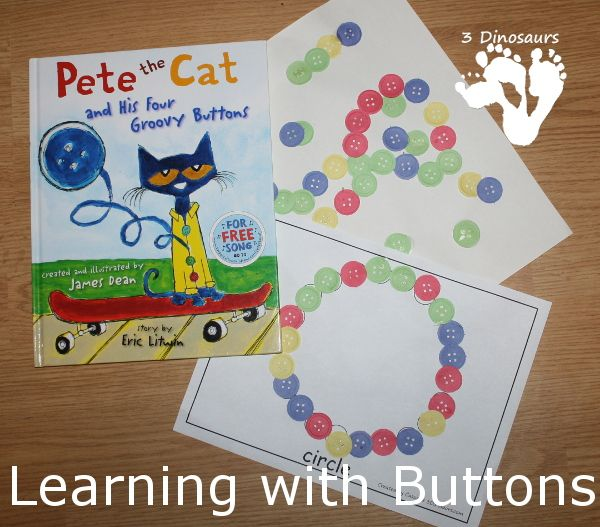 Learning With Buttons - Pete the Cat - 4 Hands on activities with buttons - 3Dinosaurs.com