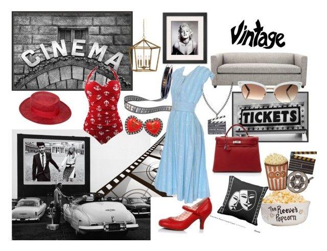 """Cinema"" by ilenia-aretusi ❤ liked on Polyvore featuring Pottery Barn, Dot & Bo, Chanel, Millennium Lighting, Hermès, Gucci, vintage, cinema and ispiration"