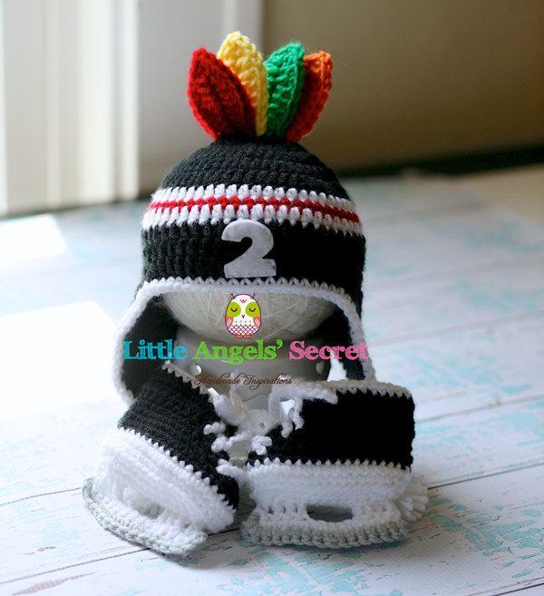 Crochet Chicago Blackhawks set Chicago hockey crochet set hat and skates photo prop boy sets Chicago feathers accessories Crochet set.