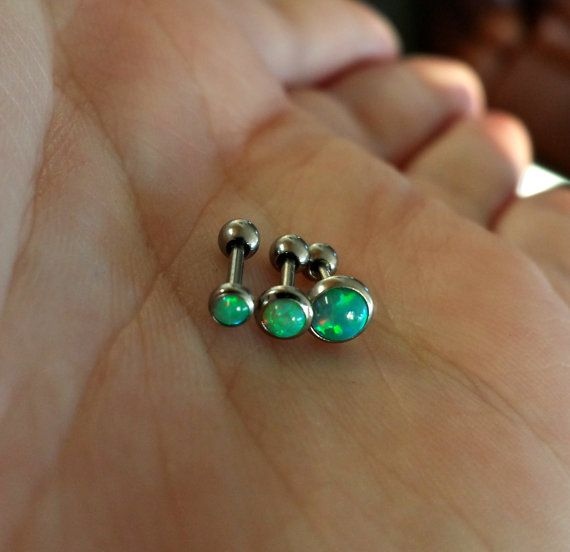 "#cartilage #cartilagering #cartilagepiercing #cartilagejewelry #helixpiercing #helix #piercing #piercings #bodypiercing #bodyjewelry #earcuff GREEN Opal 18g (1mm) 1/4"" (6mm) !! (Buy 1 or a Set of 3 Matched !!) Triple Helix Barbell Jewelry"
