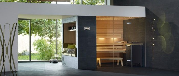 LOUNGE Q sauna with glass front and TOUCHCONTROL control unit
