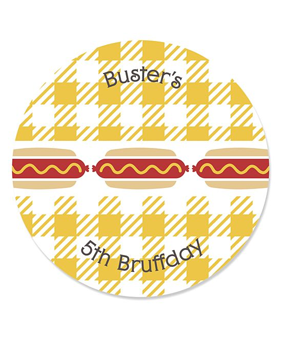 Hot Diggity Dog Personalized Round Sticker - Set of 48
