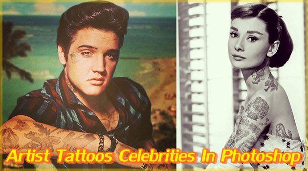 """Artist Tattoos Celebrities In Photoshop。 大好きな映画スターやミュージシャンが、もしも体中にタトゥーを入れていた場合、あなたはタトゥーに対して何を思うだろうか?シアトル在住のアーティスト""""Cheyenne Randall""""氏が制作したアート作品。頭からつま先までタトゥーだらけのスターたち。"""