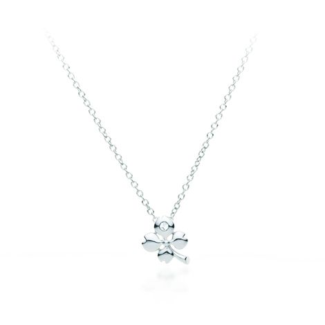 Four-Leaf Clover Pendant Necklace White Gold Dipped from My Jewellery Story