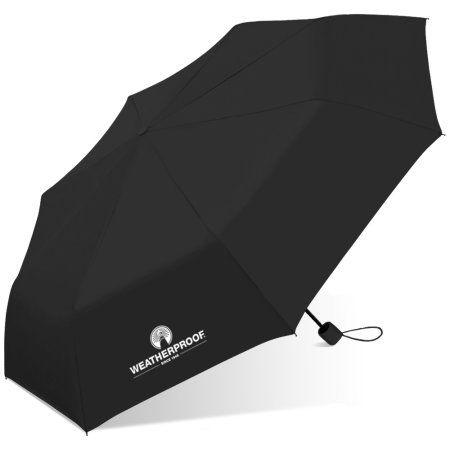 Weatherproof Manual Super Mini Umbrella, Black
