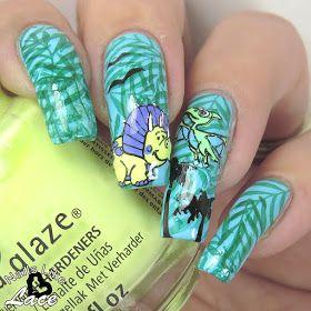 NailsLikeLace: The Digit-al Dozen does Stamping: Pastel Dinos