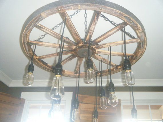 The Wheel Wagon wheel chandelier with Edison bulbs by ...