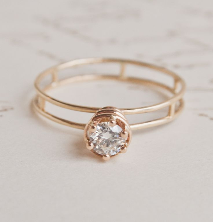1909 preview! The 60s-inspired Atomic Ring—a diamond solitaire in 14K gold. $1650: Vintage Engagement Rings, Band, Style, Ericaweiner, Atoms Rings, Diamonds Rings, Erica Weiner, Wedding Rings, Jewelry Rings