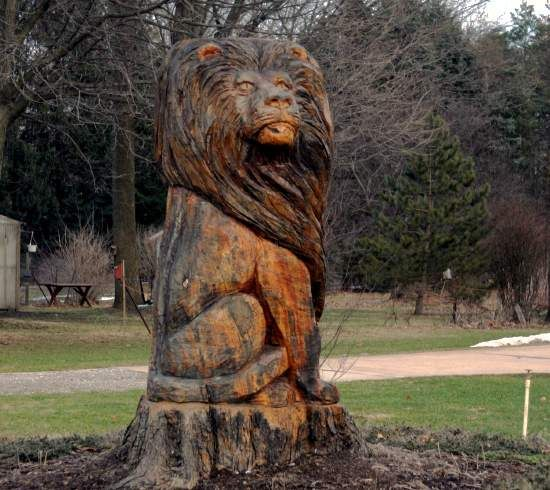 Lion  Tree Wood Carvings
