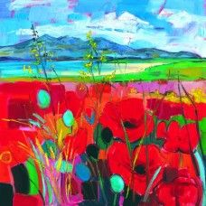 Judith Bridgland - Red Poppies, Arran in the Distance (Large)