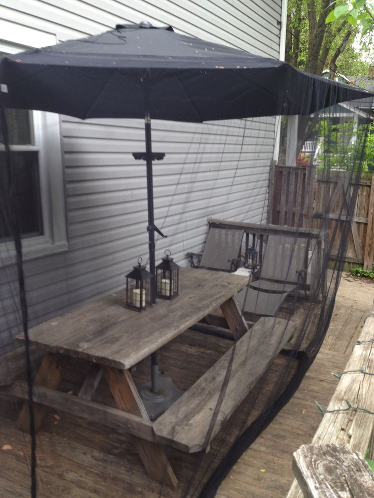$80 outdoor screened dining room. 9ft umbrella amazon. $30 mosquito netting  for umbrella up - The 25+ Best Ideas About Picnic Table Umbrella On Pinterest