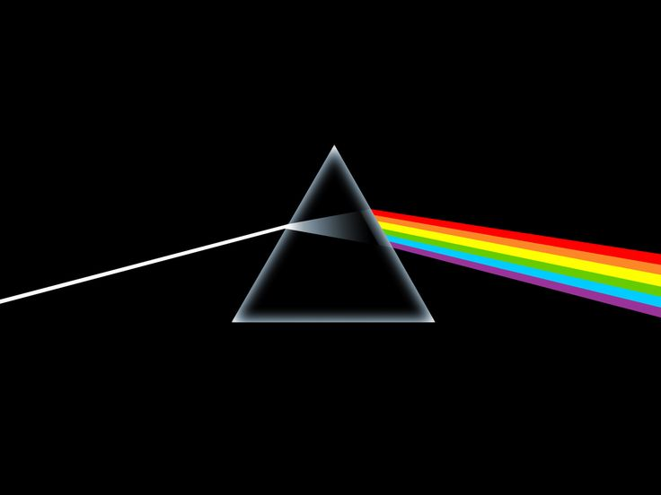 Refraccion de la luz en un prisma. Usado en la portada del disco Dark Side Of The Moon de Pink Floyd.