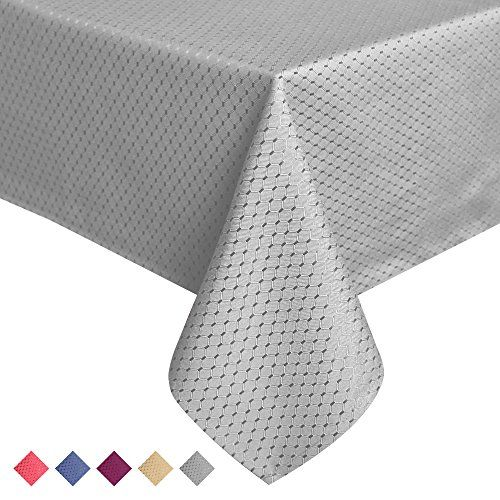 ColorBird Elegant Waffle Jacquard Tablecloth Waterproof Table Cover For  Kitchen Dinning Tabletop Decor (Rectangle/Oblong, 60 X 120 Inch, Grey)
