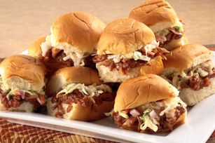 Stuffed with cheesy, BBQ-saucy chicken, these mini sandwiches beat anything from a sports bar. Bonus: They're so easy, you can make 'em during halftime.