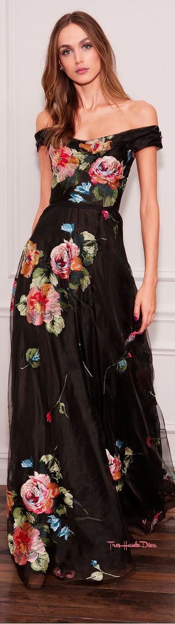 Marchesa Notte Spring 2018 RTW black and multi-color floral evening gown #MFW #MFWss18