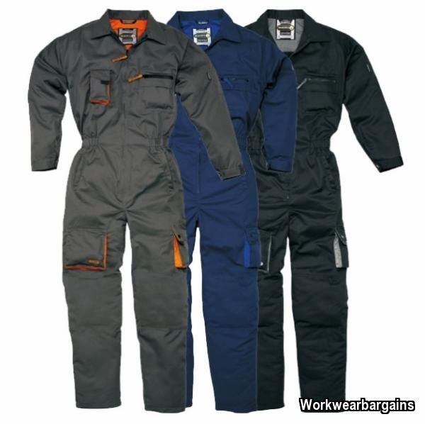 Panoply Mechanic Overalls Boiler Suit Black, Navy or Grey + FREE Kneepads | eBay