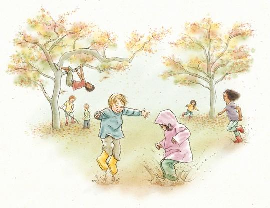 A Íngride e os seus amigos vão sempre dizer adeus ao verão quando cai a primeira folha da árvore.