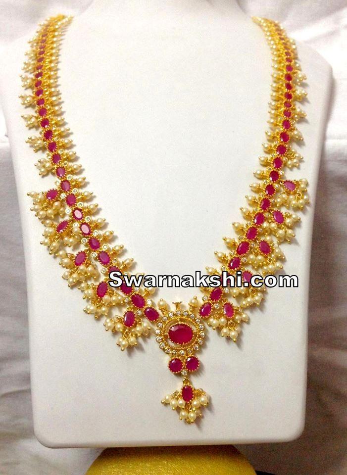 d2629494ea ITEM DESCRIPTION : 1 gram gold long necklace cz ruby oval stone guttapusalu  model buy online TYPE : 1 gram gold LENGTH: PRODUCT DETAILS : Micro gold  plated