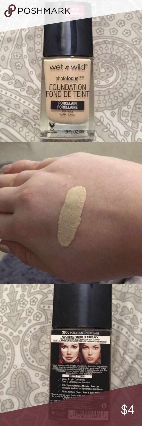 Wet N Wild Photofocus foundation Wet N wild photofocus foundation in the shade 360C Porcelain. This foundation claims to help eliminate flashback, flawless and build-able coverage, and with a matte finish.                         This product is PETA certified and Vegan wet n wild Makeup Foundation