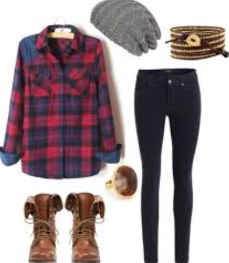 Comfy and fashionable outfit. Dark black jeans, blue and red flannel long sleeve shirt, brown boots a tan and brown braclet, gray hat and a brown ring with a golden band.