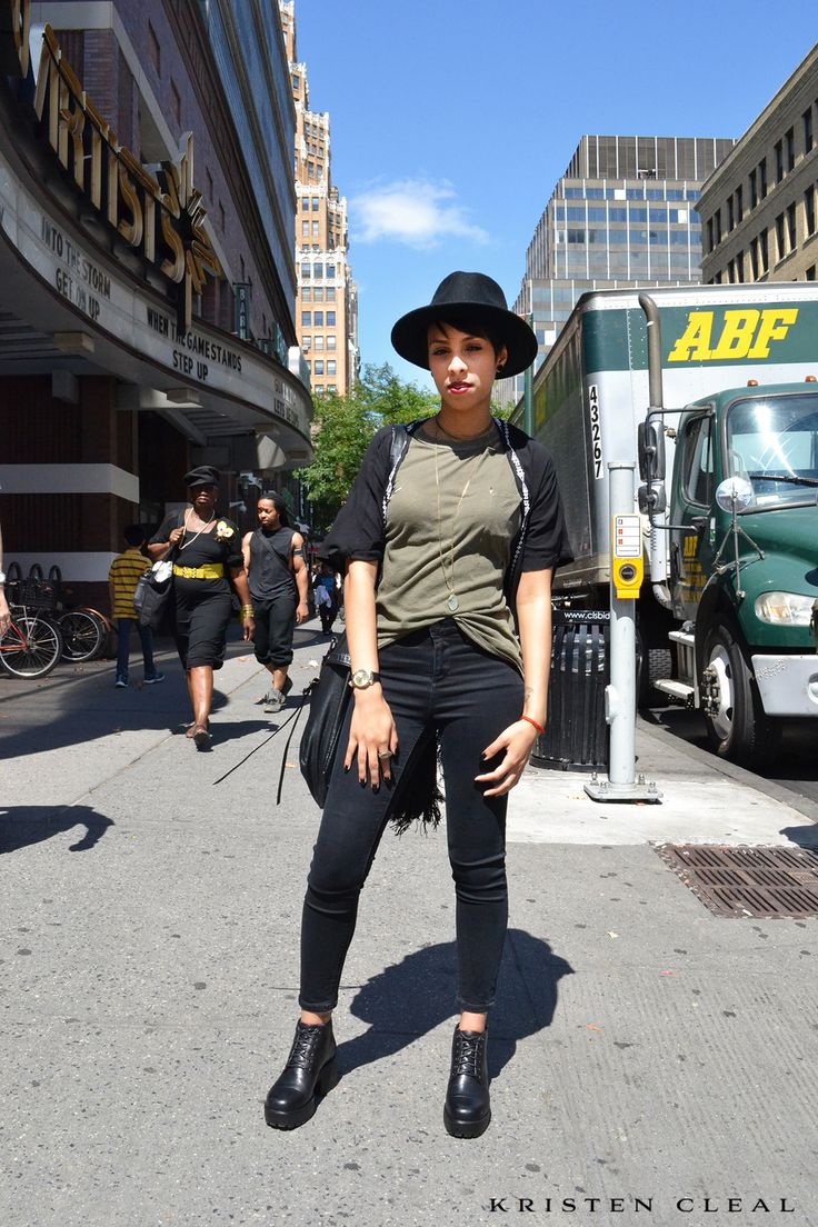 NYC | STREET STYLE # 3 - SPOTTED: Brooklyn NY in the lead up to New York Fashion Week - Can't go wrong with those everyday black skinnies, fedora hat, large sling hobo bag & that RED lippy!!  #nyc #nyfw #nycstreetstyle #streetstyle #newyorkfashion #newyorkfashionweek #fashion #style #brooklyn #blackfashion #newyork #melbournefashion #newyorkcity #ootd