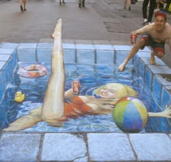 Pool Side 3D chalk art: 3D Street Art, Sidewalks Chalk Art, Chalkart, 3D Chalk Art, Swim Pools, Chalk Drawings, Sidewalks Art, Julian Beever, Streetart
