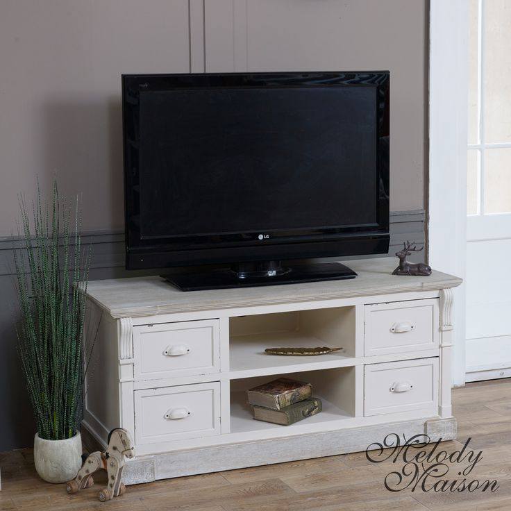 Cream Television Cabinet - Lyon Range This unit would look great in your living room Perfect for your TV or media storage with shelf and four drawers Finished in cream with limed wood top and base to give that country feel Other items available in this range