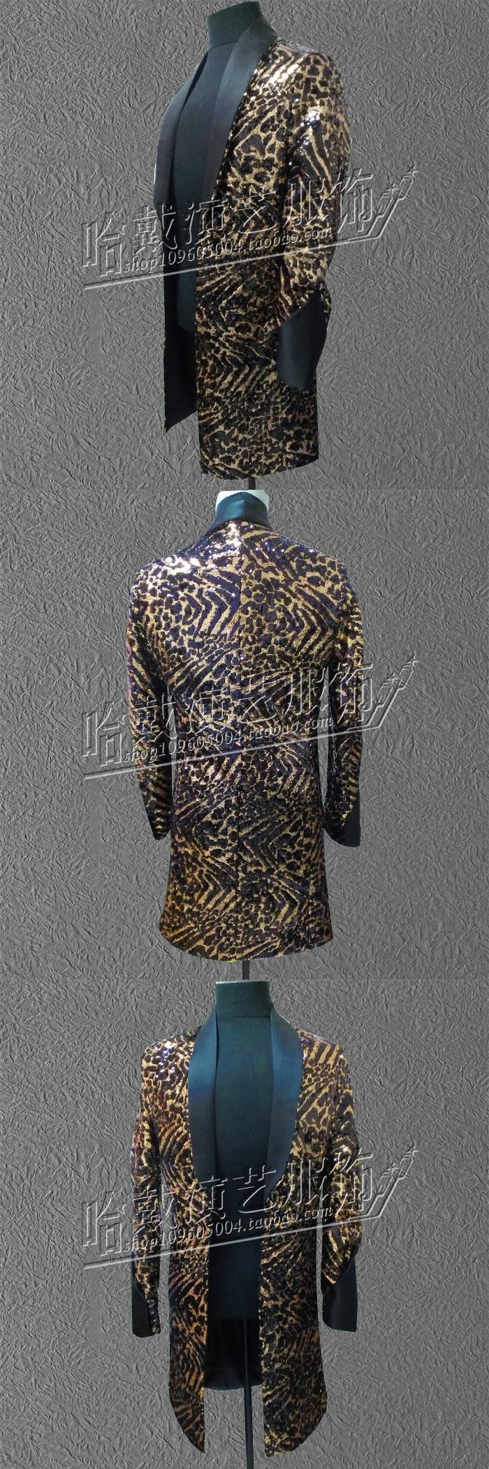 S-6XL!!Fashion Male leopard print paillette costume , long design costume , abc costume