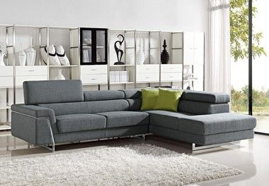 Modern Stainless Steel Base Grey Fabric Sectional Sofa Set