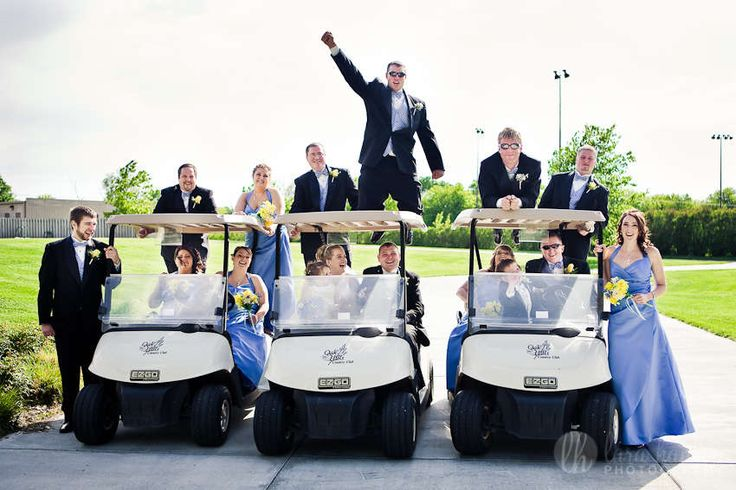 Riding around the green with the wedding party [Dominion Valley Country Club] www.dominionvalleycountryclub.com