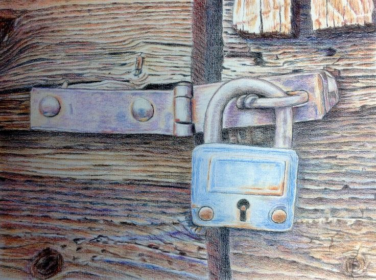 Artwork. The lock, done with Derwent No 19 coloured pencils, as the final piece for my foundation work with ArtTutor.  Art work done by Marilyn Theisel