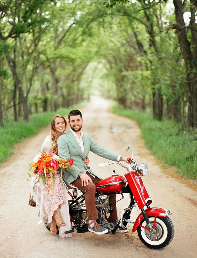Vintage Motorcycle Engagement