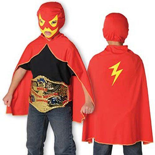 """Wrestling Costume by US Toy Company. $8.46. Kids wresting costume. Includes red cape and hood/mask. One size, child. Belt sold separately. Ideal for Halloween, dressup or play. This wrestling costume for kids is great for pretend play.  Each costume includes a face mask and cape with a lightning design.  Cape size 25 L. US Toy Exclusive!"""""""