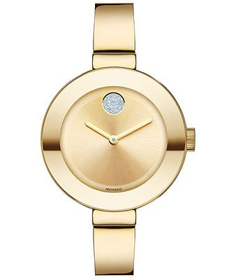 Movado Watch, Women's Swiss Bold Gold Ion-Plated Stainless Steel Bangle Bracelet 34mm 3600201
