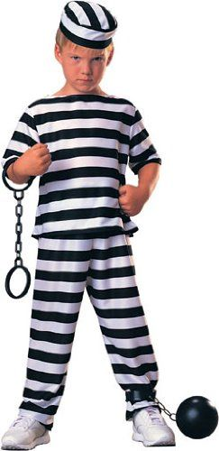 $9.97-$10.99 Haunted House Child Prisoner Costume, Large - This Child Prisoner Boy Costume will show everyone your little boy's other side! The perfect Halloween Costume for the tough guy in your life, this Prisoner Costume includes black and white striped prisoner shirt, matching pants and hat. http://www.amazon.com/dp/B001B3O1D2/?tag=pin2pet-20