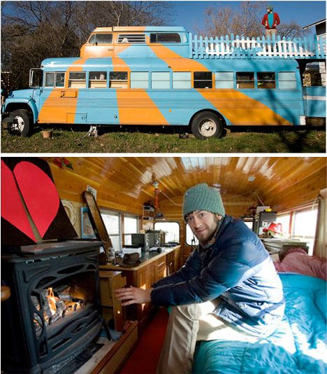 How about camping or RVing in a covered  bus? And if it has a fireplace? It has a music studio too... and a sun deck! This has to be one ultimate road trip machine!