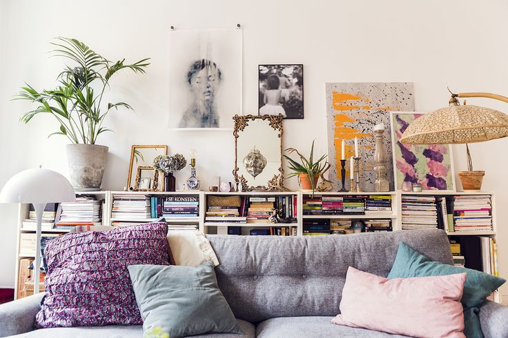 Love the leaning art display and purposeful clutter adding warmth