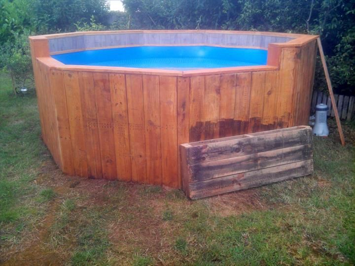 Free of cost pallet swimming pool 101 pallet ideas for Garden pool made from pallets
