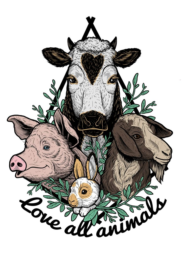 Love All Animals - Farm animals like cows, pigs, chickens, rabbits or goats are as beautiful and as smart as our companion animals, they deserve our love too! Illustration for my vegan clothing brand @menimabrand