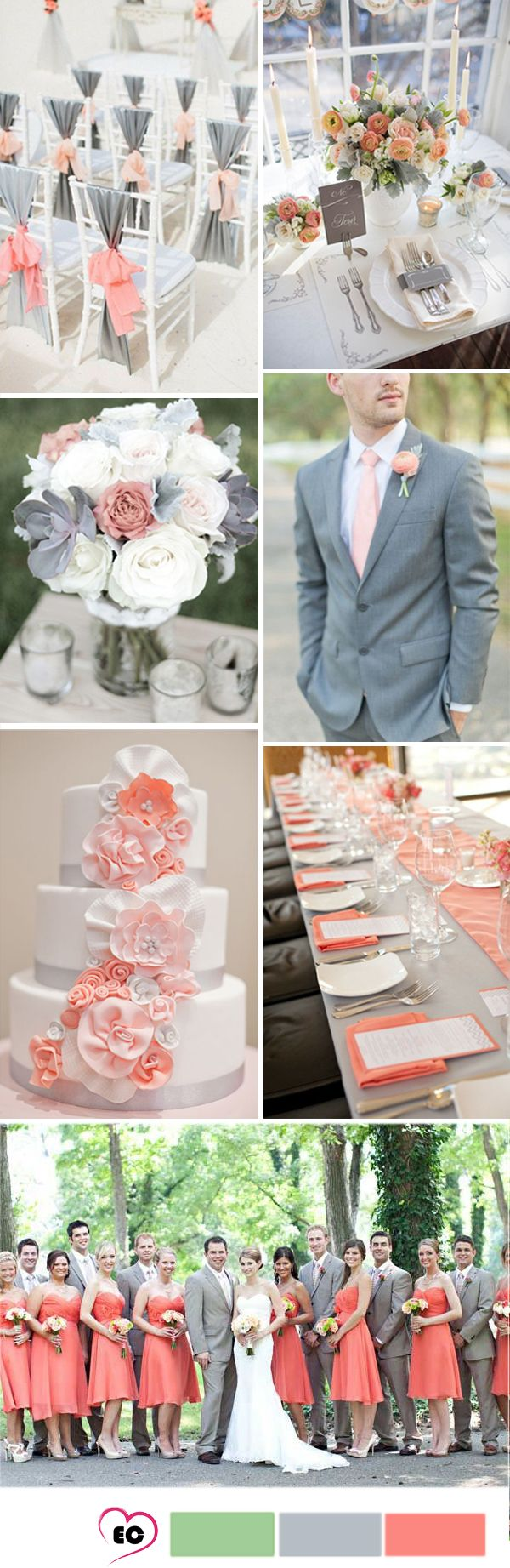 Coral  and grey wedding idea                                                                                                                                                                                 More