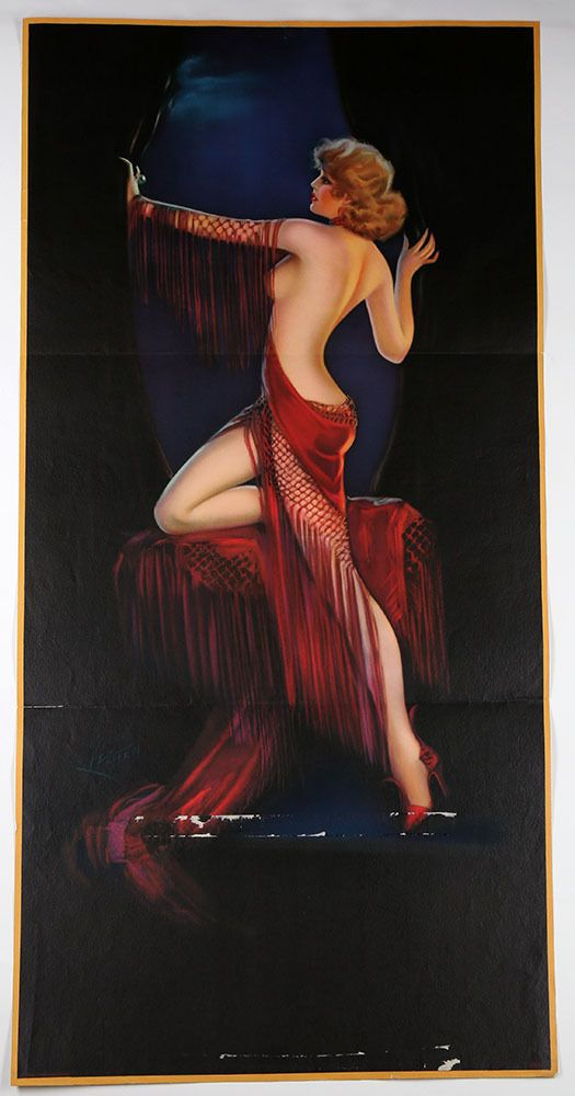 Vintage Irene Patten 1930s Large Lady In Red Pin Up Poster