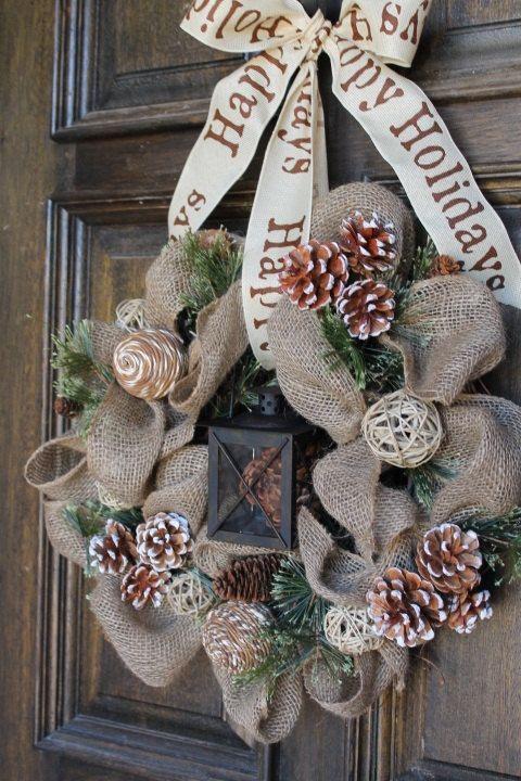 Burlap winter wreath Burlap lantern wreath by theembellishedhome
