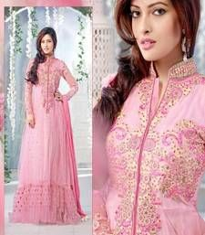 Buy Pink Embroidered Net semi stitched salwar with dupatta party-wear-salwar-kameez online