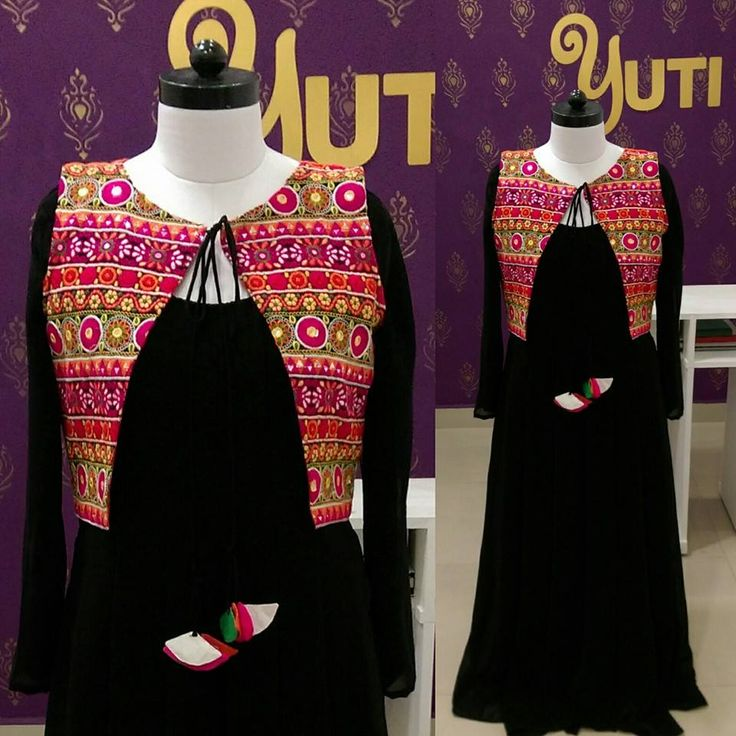 Black anarkali with kutch work jacket and multi colour tassel by YUTI Designer House