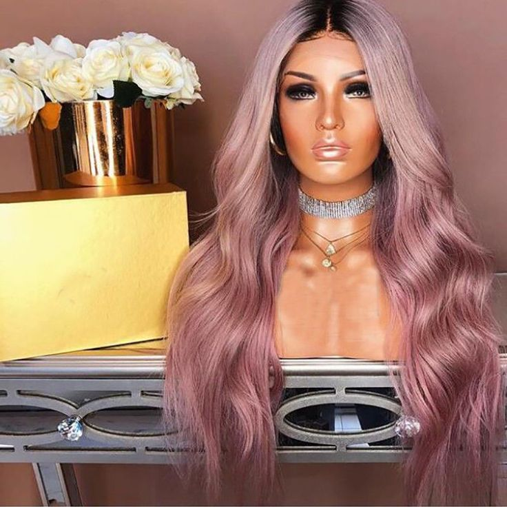 Brazilian Real Human Hair Wigs Ombre Pastel Pink Wavy Remy Full Lace Front Wig