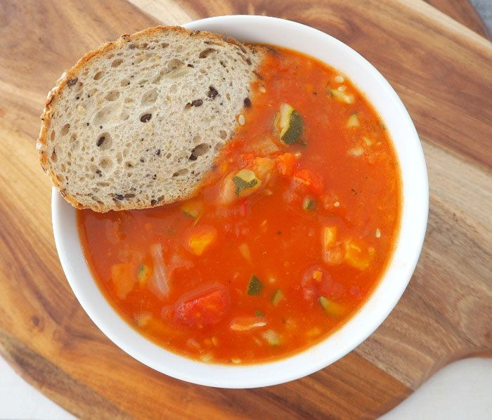 Thermomix Vegetable Soup served with bread