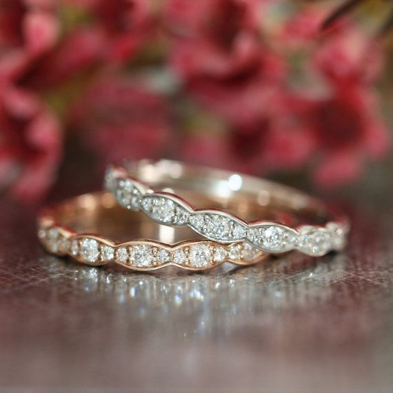 Matching Scalloped Diamond Wedding Ring Vintage Inspired Diamond Anniversary Ring in 14k White, Yellow or Rose Gold Half Eternity Band