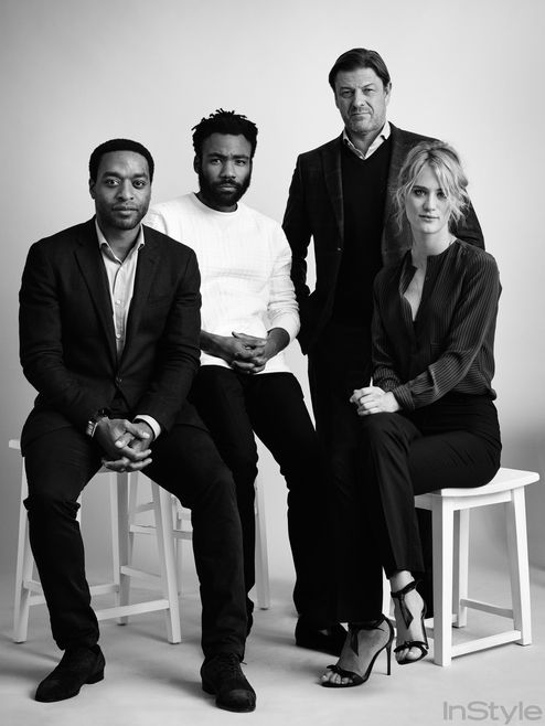 """Chiwetel Ejiofor, Donald Glover, Sean Bean and Mackenzie Davis of """"The Martian"""" pose at TIFF."""
