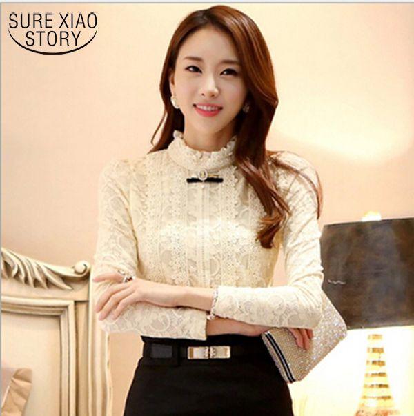 2015 nieuwe hoge kwaliteit damesmode kant blouse shirts herfst en winter Plus dikke fluwelen warm Dieptepunt shirt Blusas 999 20
