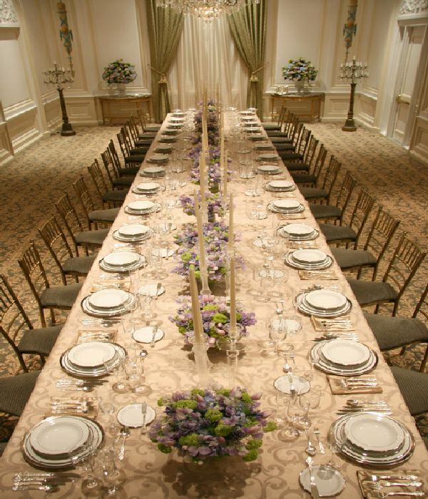 Lily and bart s wedding long dining table decor photo for Table decorations for dining table